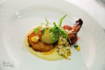 """Camarones a la Diabla"" grilled shrimp with fresh corn puree, arbol guajillo adobo"